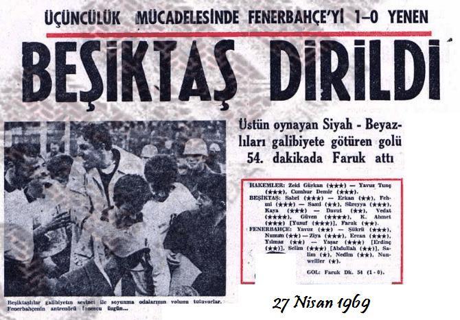 Fenerbah�e Besiktas 1969 ma�